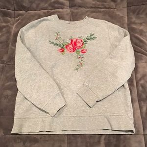 Rose Embroidered Crew Neck